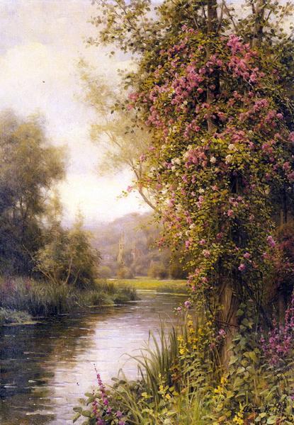 名画 絵画 油絵 [宅送] 送料無料 新品 Louis Knight_ 川沿いに咲く花 Aston