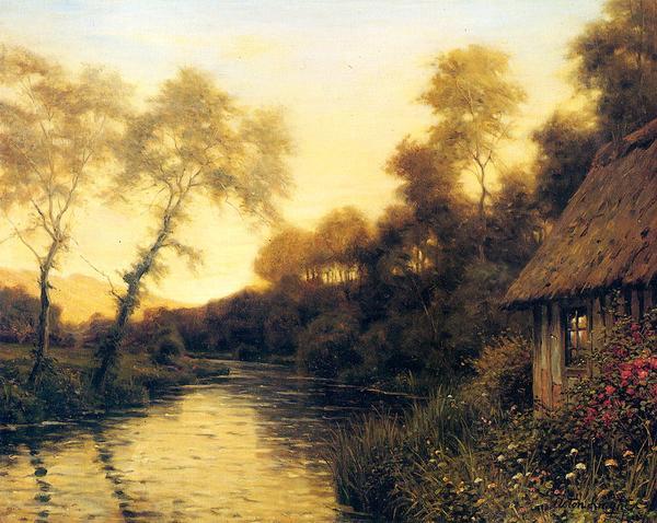 油絵 Louis Aston Knight_ 夕暮れの川の風景