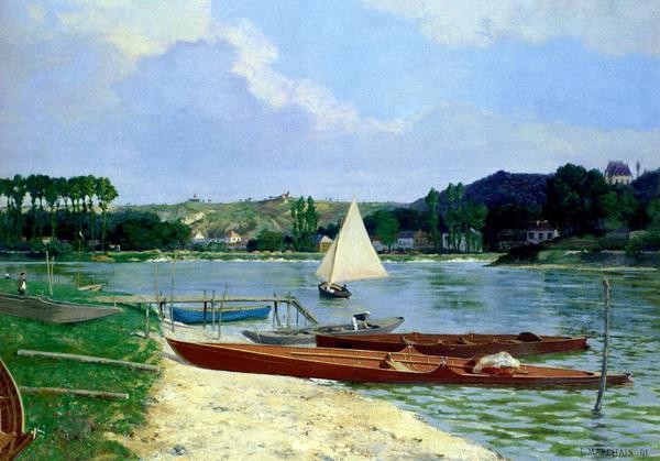名画 絵画 油絵 Marchais 期間限定特価品 ボート Lucien_ 国産品