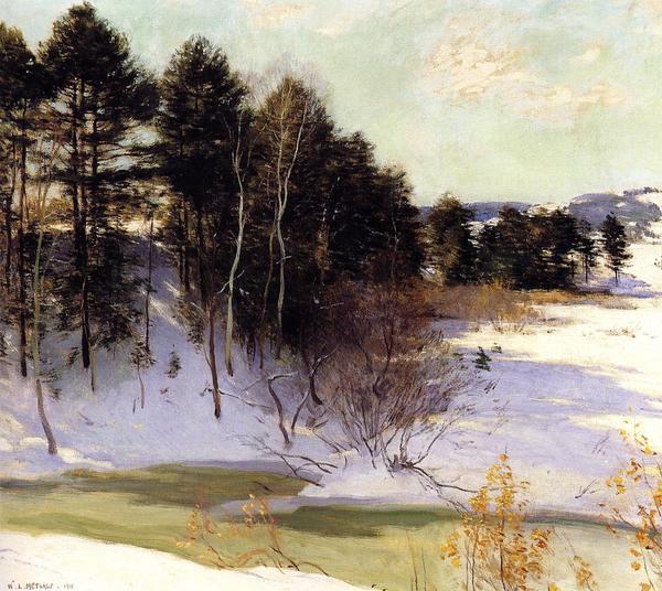 油絵 Metcalf Willard L_ 凍りついた小川