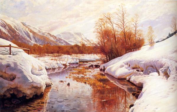 名画 絵画 油絵 Monstead トレント山の冬 Mork_ Peder タイムセール 大人気