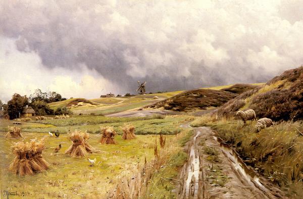油絵 Monstead Peder Mork_ 嵐の後の田園風景