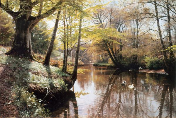 名画 期間限定で特別価格 絵画 油絵 Monstead Mork_ ◆セール特価品◆ Peder 春の小川