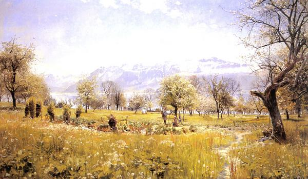 名画 絵画 油絵 店 Monstead Peder 本物◆ Mork_ 湖畔