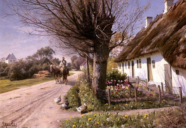 保証 名画 通常便なら送料無料 絵画 油絵 Monstead Hjornbaekの家 Mork_ Peder