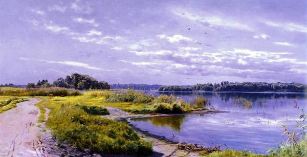 油絵 Monstead Peder Mork_ 川の風景