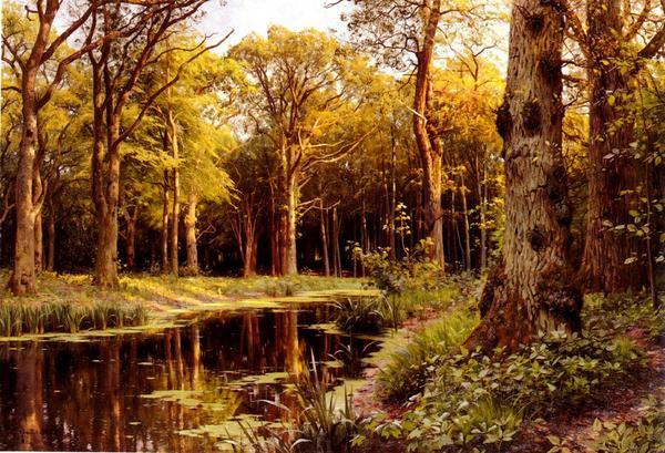 名画 絵画 商舗 油絵 Monstead 人気の定番 Mork_ Peder 森の小川
