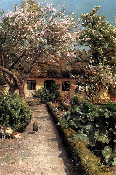 日本 名画 オンライン限定商品 絵画 油絵 Monstead Peder Mork_ 庭の水やり