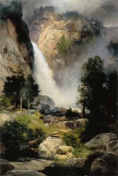 爆買い新作 豪華な 名画 絵画 油絵 ヨセミテの滝 Thomas_ Moran