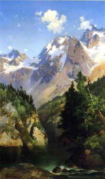 名画 激安通販販売 絵画 油絵 Thomas_ロッキー山脈 日本限定 Moran
