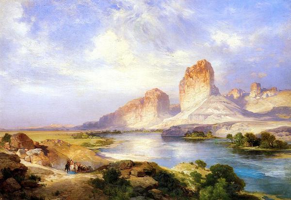 油絵 Moran Thomas_ ワイオミングの緑色の川