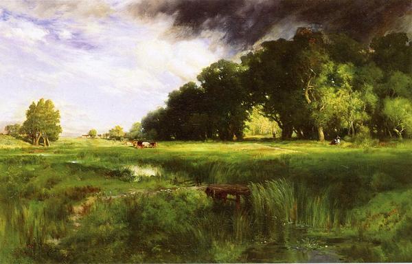 名画 絵画 油絵 Thomas_ Moran 即日出荷 好評 夏のスコール