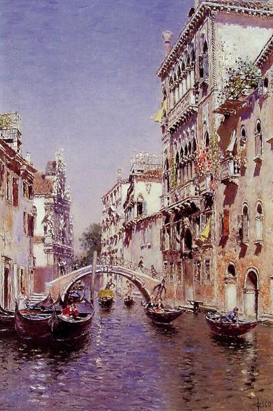 専門店 名画 絵画 油絵 Ortega Rico Martin 新発売 y_ 晴れ日のベニスの水路