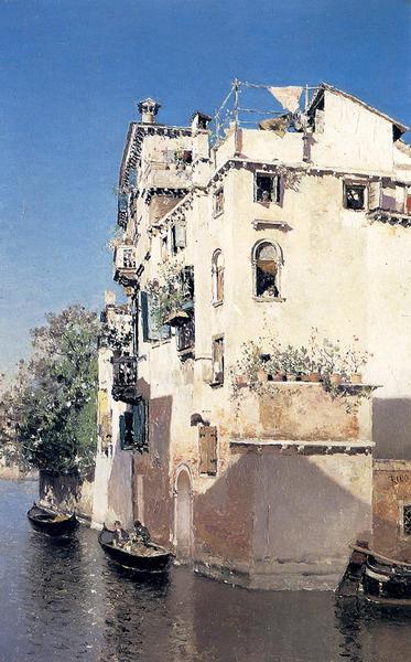 名画 絵画 流行のアイテム 油絵 Ortega Y_ 贈り物 ベネチア水路 Rico Martin