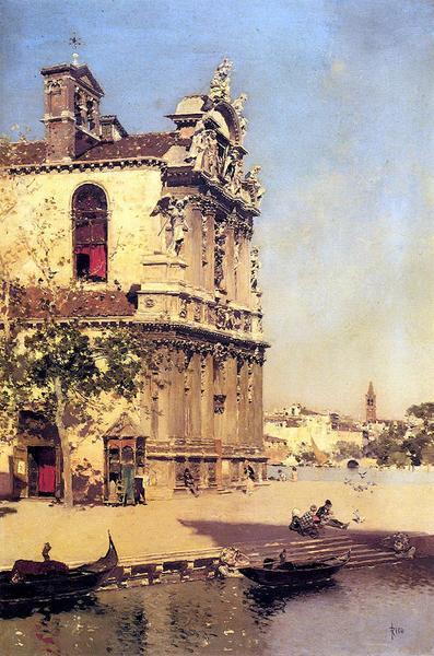 油絵 Ortega Martin Rico Y_ ベニスの風景