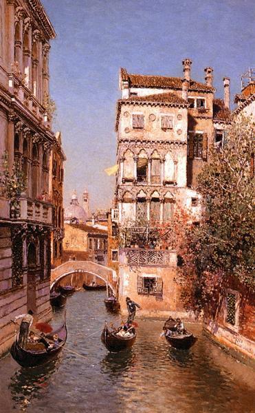 油絵 Ortega Martin Rico Y_ ベニスの水路