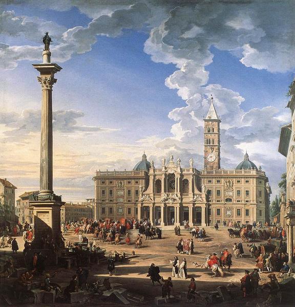 油絵 Pannini Giovanni Paolo_ サンタマリア・マジョーレ教会と広場