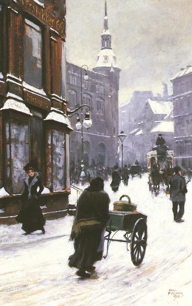 名画 絵画 油絵 半額 販売期間 限定のお得なタイムセール Paul コペンハーゲンの冬の街角 Gustave Fischer_