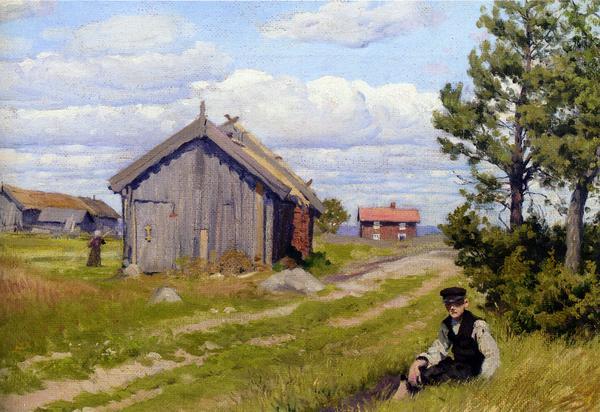 油絵 Paul Gustave Fischer_ 農場