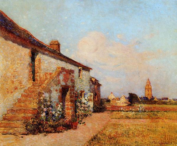 油絵 Puigaudeau Ferdinand du_ ブルターニュのブルゴーニュ村