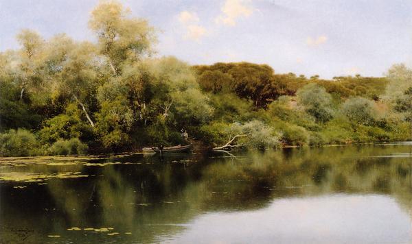 名画 絵画 油絵 人気商品 Sanchez 穏やかな流れ Emilio_ セットアップ Perrier