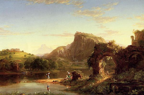 油絵 Thomas Cole_ 古代ローマの夕暮れ