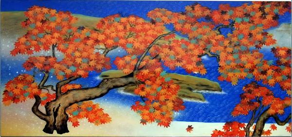 名画 絵画 漆  漆絵 横山大観の名作「紅葉」