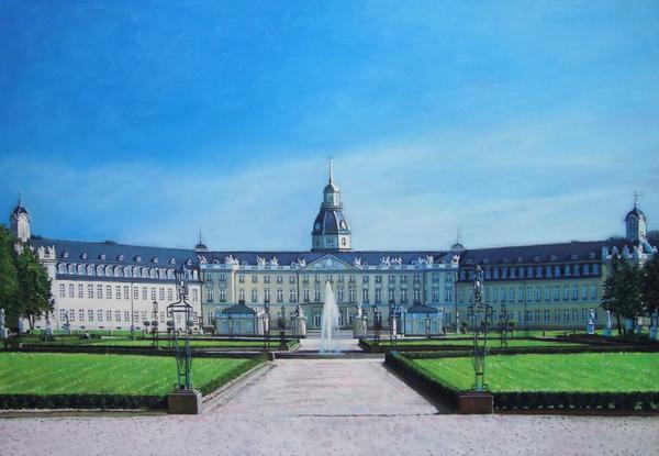 爆買い新作 絵画 油絵 カールスルーエ城 ドイツ 即納最大半額