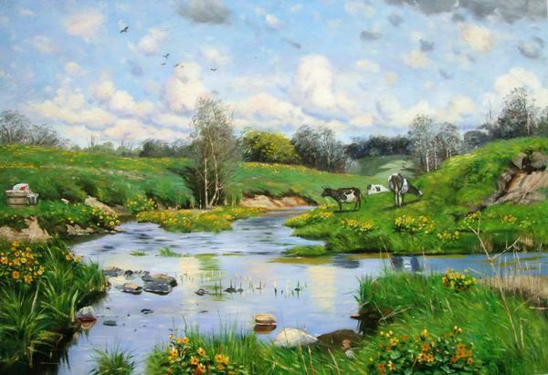 名画 絵画 油絵 Monstead 新作からSALEアイテム等お得な商品満載 至高 Peder Morkの名作_ 放牧牛