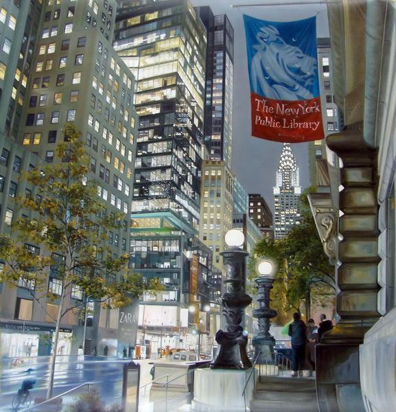 油絵 ニューヨークの街角8