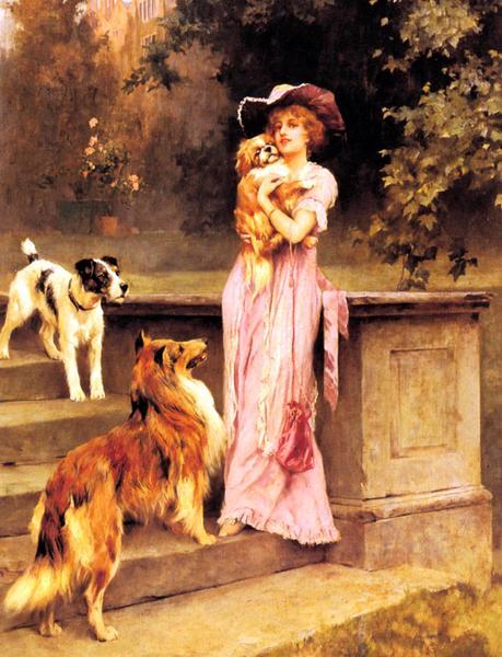油絵 Arthur Wardle 「午後の散歩」