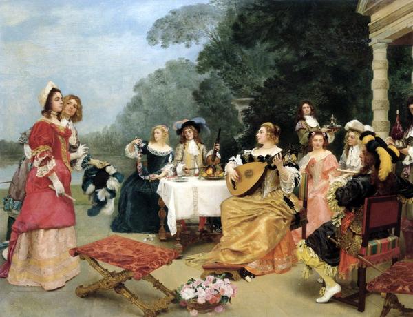 油絵 Gustave Jean Jacquet_リサイタル