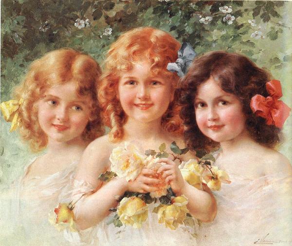 新作製品 メーカー公式ショップ 世界最高品質人気 名画 絵画 油絵 Vernon Emile_三姉妹