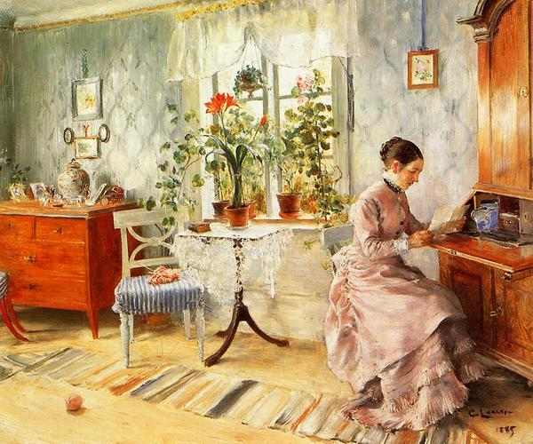 名画 絵画 市場 油絵 Carl_手紙を読む婦人 新品未使用 Larsson
