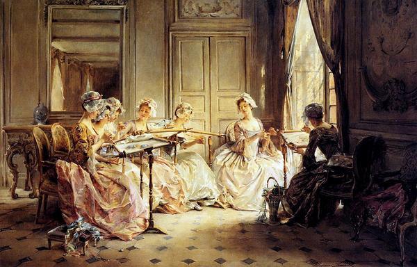 油絵 Lemaire Madeleine Jeanne_午後の刺繍