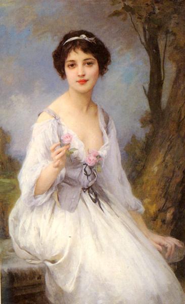 セール 名画 SALE開催中 絵画 油絵 Lenoir Amable_ピンクの薔薇を手にする女 Charles