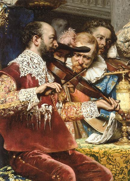 油絵 Lesrel Adolphe Alexandre_コンデ公の洗礼・部分