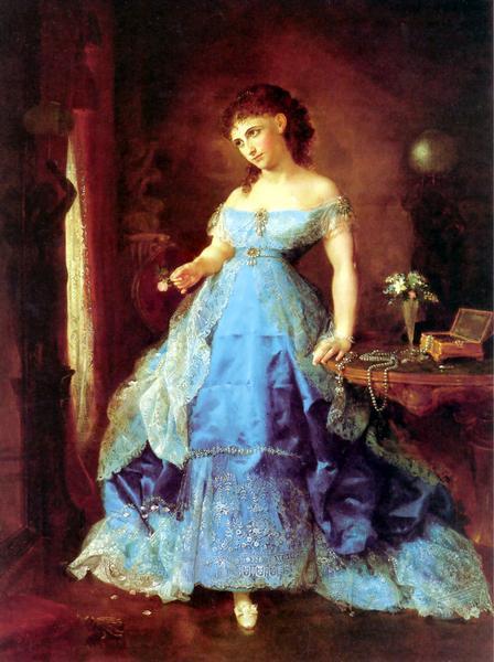 名画 美品 優先配送 絵画 油絵 Spencer_青いドレスの婦人 Lilly Martin