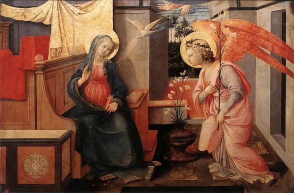 名画 絵画 宗教画 激安価格と即納で通信販売 好評 油絵 Lippi Fra Filippo_受胎告知