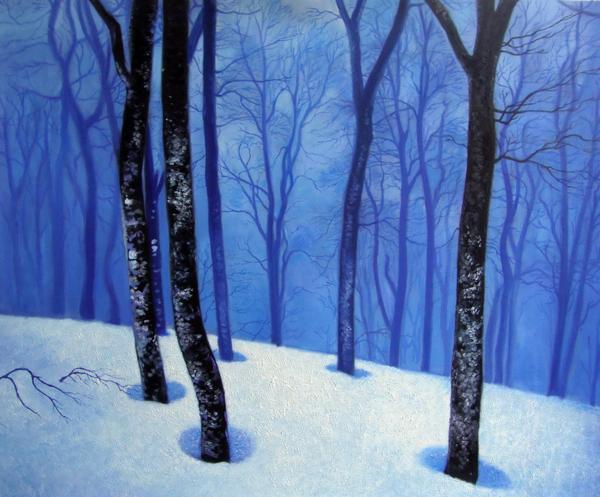 特価油絵 青い森