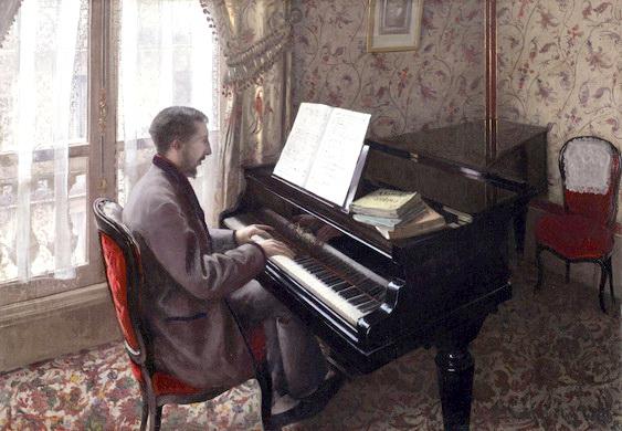 お得クーポン発行中 今だけスーパーセール限定 名画 絵画 油絵 ギュスターヴ カイユボットの名作_ピアノを弾く若い男