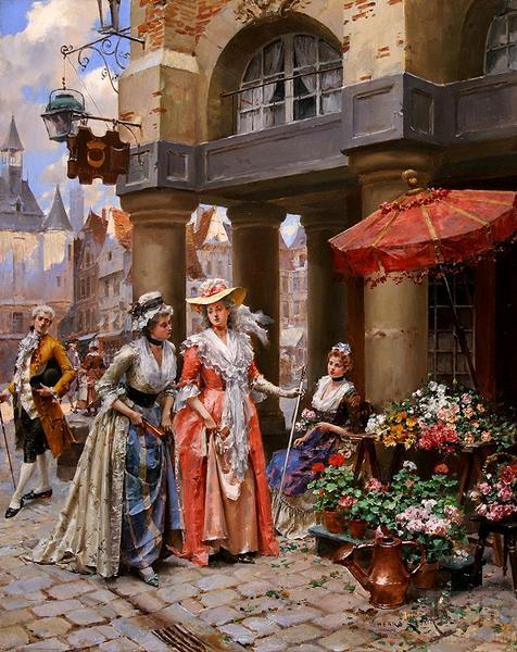テレビで話題 名画 絵画 油絵 Lesur Victor_花市場にて Henri 2 正規店