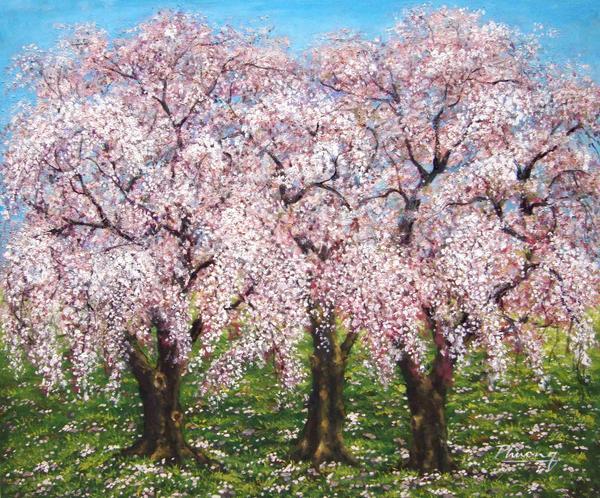 絵画 プレゼント メーカー公式 油絵 三本しだれ桜