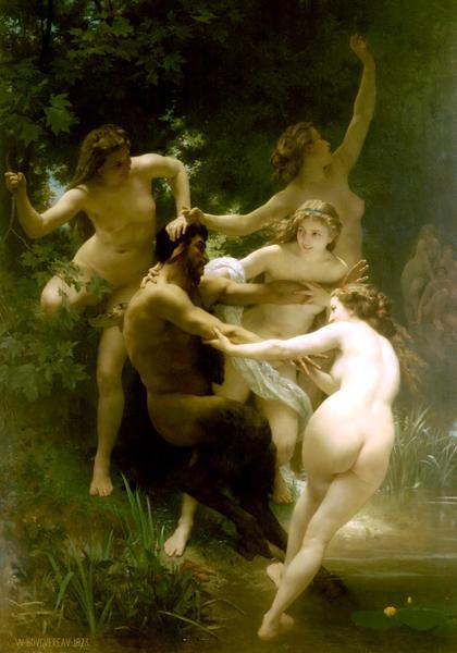 油絵 ウイリアム・ブーグローの名作「ニンフとサテュロス」