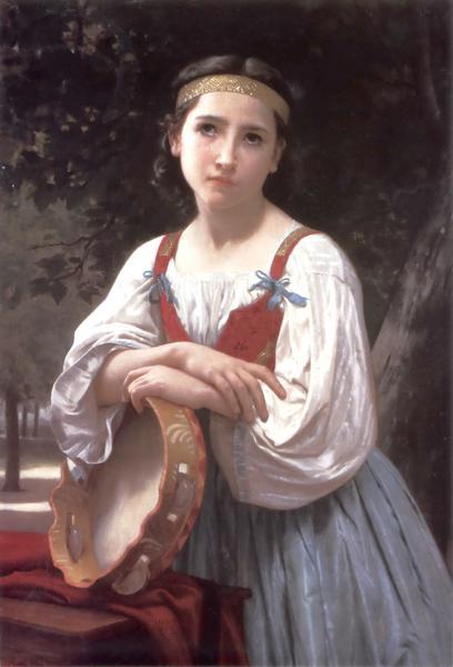 卓越 名画 絵画 油絵 バスクドラムと少女 代引き不可 ウイリアム ブーグローの名作