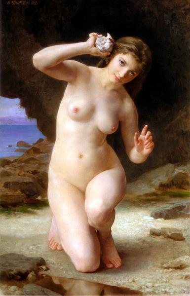 名画 絵画 油絵 卸直営 ブーグローの名作 貝殻と女 ウイリアム オンライン限定商品