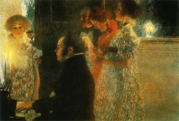 名画 メーカー在庫限り品 絵画 クリムトの名作_ピアノを弾くシューベルト 油絵 チープ