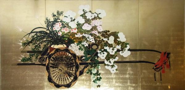 漆絵 花車図 4