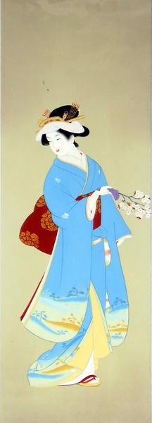 名画 絵画 漆  漆絵 上村松園の名作 「春信(しゅんしん)」