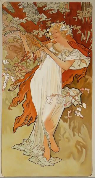 漆絵 アルフォンス・マリア・ミュシャの名作「四季 春」